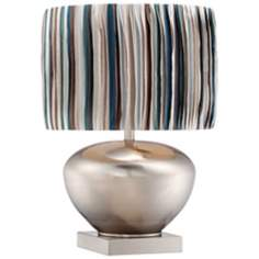 Possini Euro Nickel Pot Table Lamp with Strips Shade