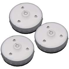 Set of 3 White Battery Powered LED Micro Puck Lights