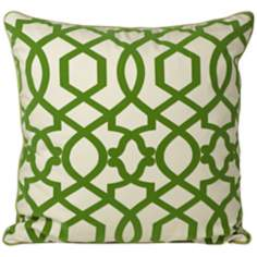 "Tangle 20"" Square Green Throw Pillow"