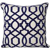 "Tangle 20"" Square Navy Blue Throw Pillow"