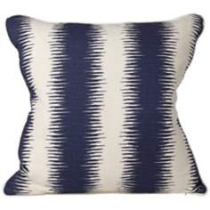 "Shock 20"" Square Blue and Beige Stripe Throw Pillow"