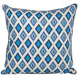 "Kite 20"" Square Blue Ikat Throw Pillow"