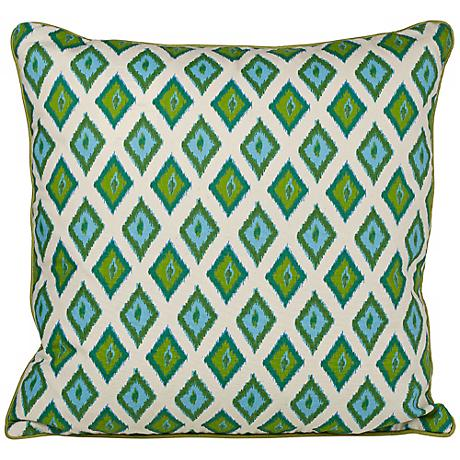 "Kite 20"" Square Green Ikat Throw Pillow"