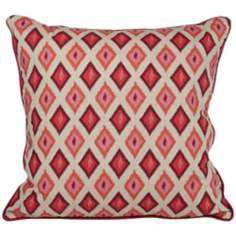 "Kite 20"" Square Red Ikat Throw Pillow"