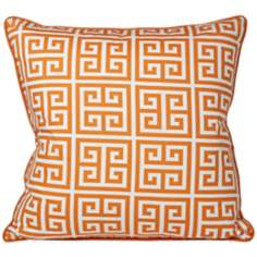 "Riddle 20"" Square Orange Greek Key Pillow"