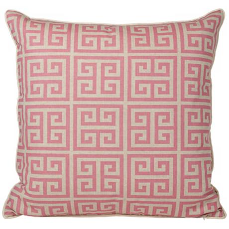 "Riddle 20"" Square Pink Greek Key Pillow"
