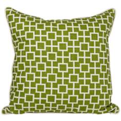 "Cube 20"" Square Green Throw Pillow"