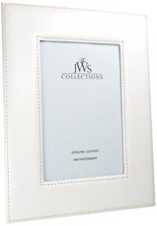 White 4x6 Cowhide Leather Photo Frame (W6980)