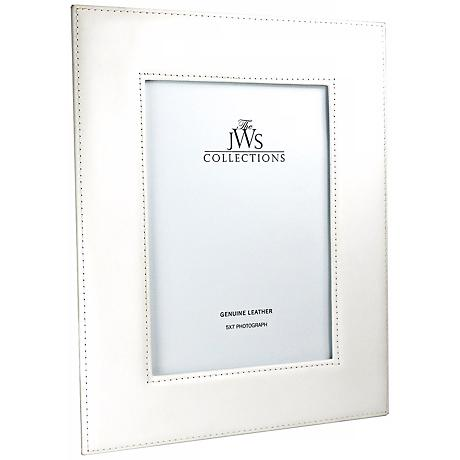 White 5x7 Cowhide Leather Photo Frame