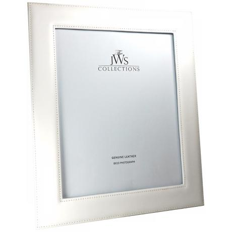 White 8x10 Cowhide Leather Photo Frame