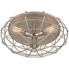 "Industrial Cage 7 1/2"" High Ceiling Light with Edison Bulb"