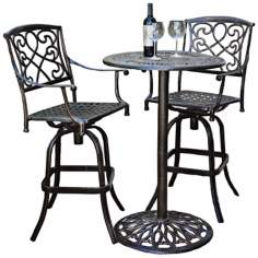 Cast Aluminum Outdoor Bar Stool and Table Set