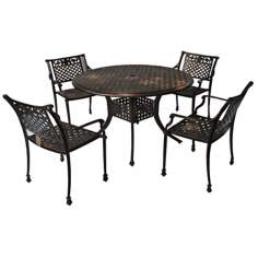 Sebastian 5-Piece Outdoor Copper Table and Chairs Set