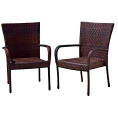 Set of 2 Multi-Brown PE Wicker Outdoor Club Chairs