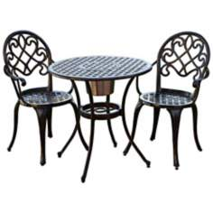 Angeles 3-Piece Cast Aluminum Outdoor Bistro Set