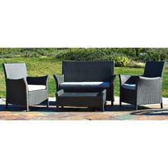 Oahu 4-Piece Gray Wicker Outdoor Sofa Set