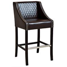 Diamond Stitched Brown Leather Barstools