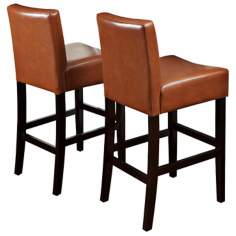 Set of 2 Hazelnut Bonded Leather Barstools
