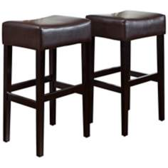 Set of 2 Bonded Brown Leather Barstools