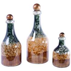 Set of 3 Wheatfield Hand-Painted Glass Bottles with Tops