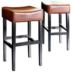 Set of 2 Bonded Hazelnut Leather Barstools