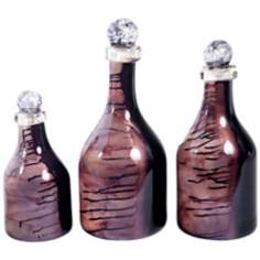 Set of 3 Art Glass Black Copper Bottles