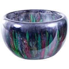 Hand-Blown Art Glass Kaleidoscope Bowl