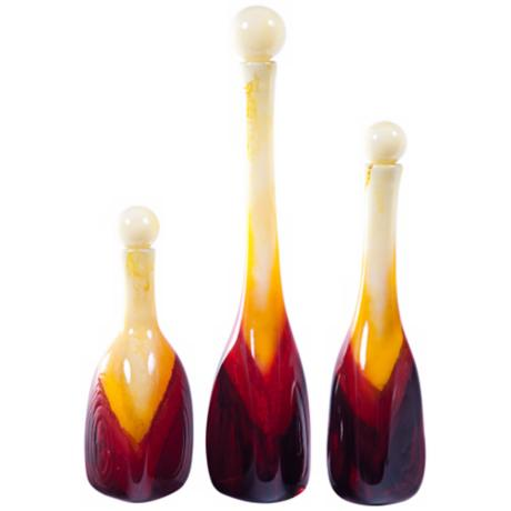 Set of 3 Corozon Art Glass Bottles with Tops