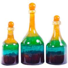 Set of 3 Cornflower Hand-Blown Glass Bottles with Tops