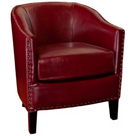 Studded Red Bonded Leather Club Chair