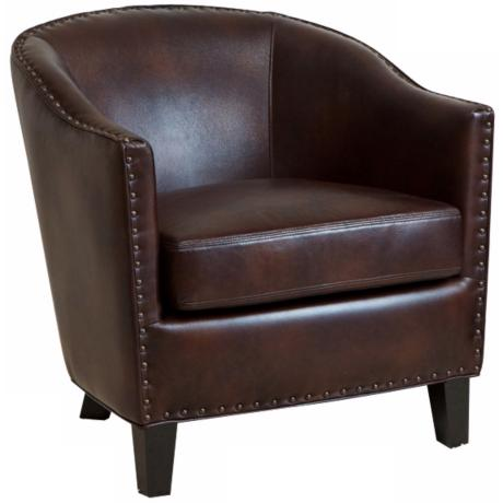 Charles Studded Brown Bonded Leather Club Chair