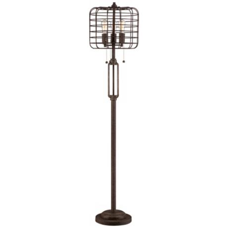 Industrial Cage Edison Bulb Rust Metal Floor Lamp