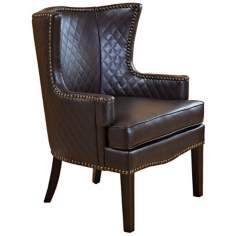 Brown Quilted Leather Arm Chair
