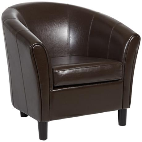 Napoli Brown Bonded Leather Tub Chair