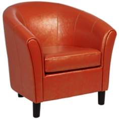 Napoli Orange Bonded Leather Club Chair