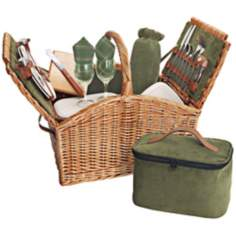 Picnic Time Somerset Wicker Picnic Basket Set