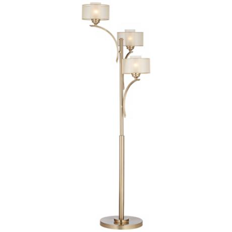 Possini Euro Alecia 3-Light Satin Brass Floor Lamp
