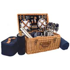 Picnic Time Windsor Willow Full-Service Wicker Picnic Basket