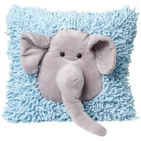 Plush Elephant Blue and Gray Accent Pillow