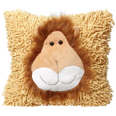 Plush Furry Mane Lion Brown Accent Pillow