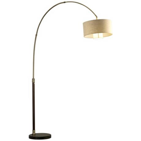 Nova Veld Pecan and Weathered Brass Arc Floor Lamp