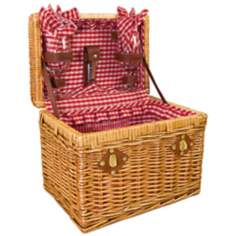Picnic Time Chardonnay Wicker Wine Picnic Basket Set