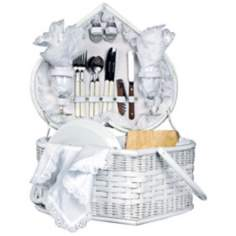 Picnic Time Wedding Heart White Picnic Basket