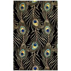 Catalina Collection Black Peacock Area Rug