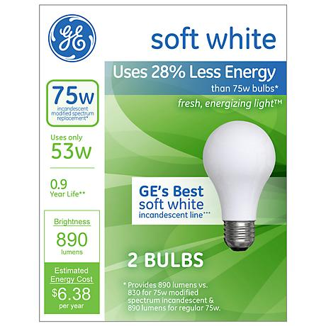 Ge 53 Watt 2 Pack Soft White Halogen Light Bulbs W7536
