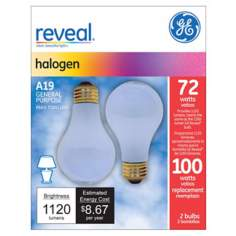 GE 72 Watt 2-Pack A-19 Reveal Halogen Light Bulbs