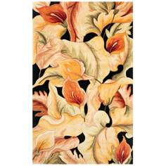Catalina Collection Black Calla Lilies Area Rug