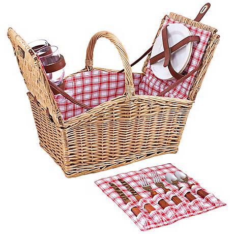 Picnic Time Piccadilly English Wicker Picnic Basket Set