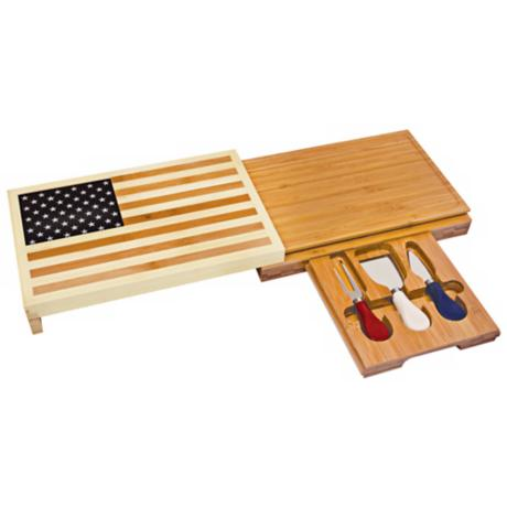 Picnic Time Old Glory Bamboo Cheese Cutting Board