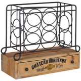 Chateau Bordeaux 6-Bottle Iron and Wood Wine Rack